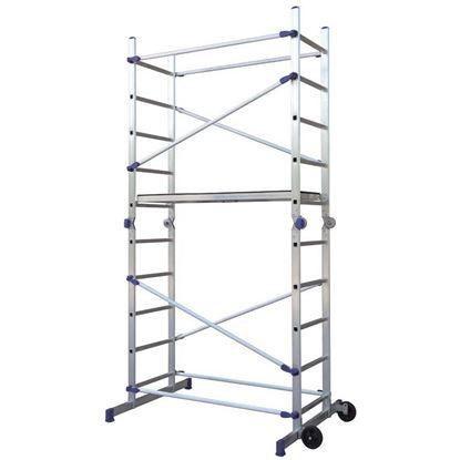 Immagine di Trabattello Facal, Pinna, in alluminio, multiuso, struttura 3,10 mt, h lavoro 3,80 mt, montanti 24x60 mm