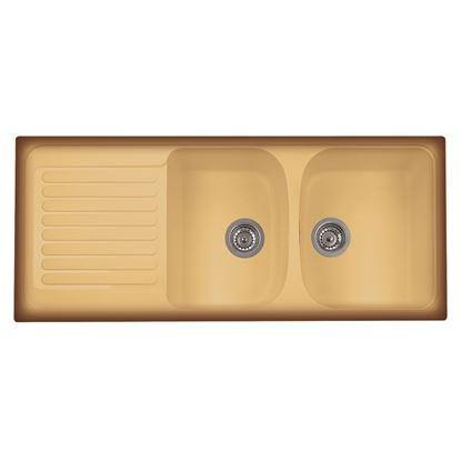Immagine di Lavello Harmony, 2 vasche, c/gocciolatoio, revers., materiale composito Ultraquartz, 116x50 cm, col.terra di francia