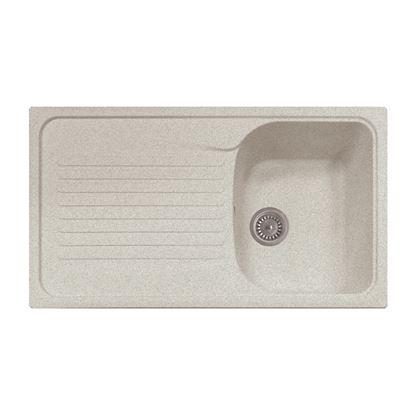 Immagine di Lavello Harmony, 1 vasca, c/gocciolatoio, revers., materiale composito microUltragranit, 86x50 cm, col.bianco opale