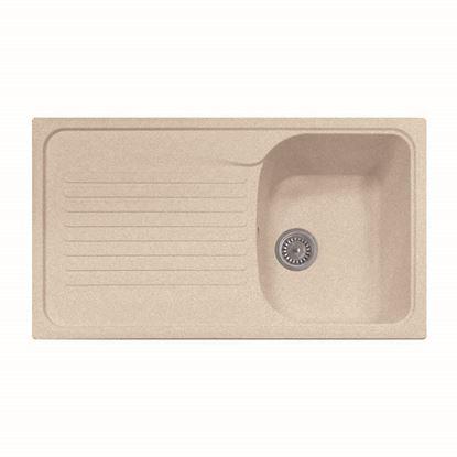 Immagine di Lavello Harmony, 1 vasca, con gocciolatoio, reversibile, materiale composito microUltragranit, 86x50 cm, colore avena