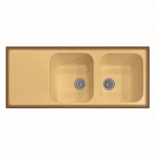 Lavello Atlantic, 2 vasche, c/gocciolatoio, revers., materiale ...