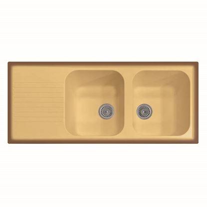 Immagine di Lavello Atlantic, 2 vasche, c/gocciolatoio, reversibile, materiale composito microUltragranit, 116x50 cm, col.avena