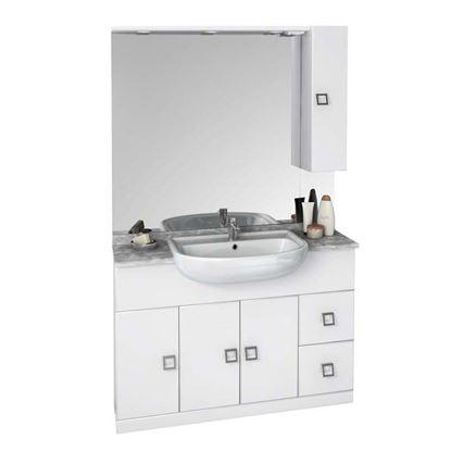 Immagine di Mobile Nora, 3 ante, 2 cassetti, colore bianco, 120 cm