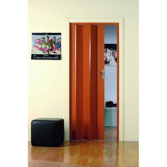 Porta a soffietto, con serratura, 83xh214 cm, colore legno scuro