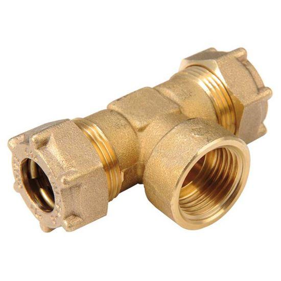 Raccordo tee meccanico rame f 1 2 x14 mm idraulica for Tipi di raccordi per tubi di rame