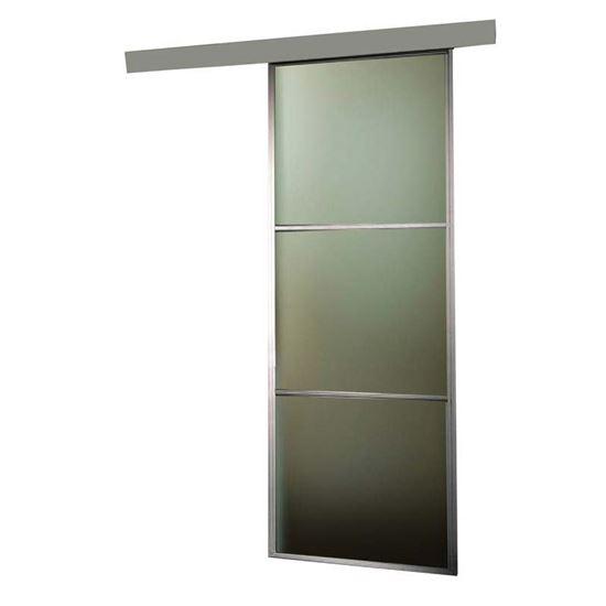 Porta scorrevole, alluminio, 3 inserti in vetro, 76x215x4 cm