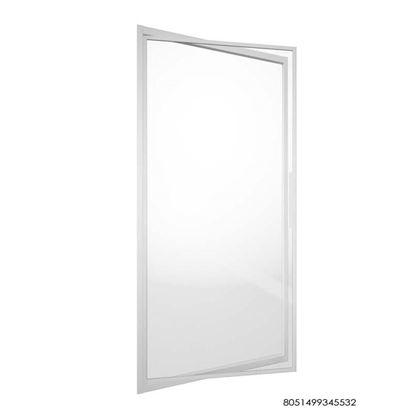 Immagine di Porta girevole, apertura interna/esterna, profilo alluminio cromo, cristallo satinato, spessore 6 mm, 78/81x195 cm