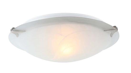 Plafoniera fred e27 60 w cromo vetro alabastro bianco Ø 30 cm