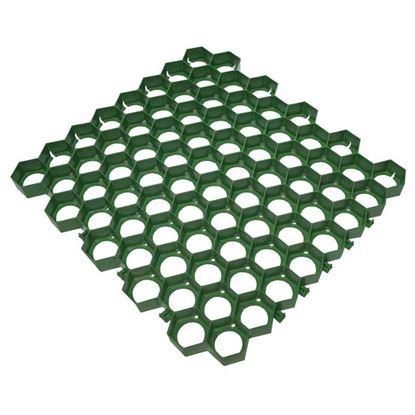 Immagine di Grigliato salvaprato, in polietilene, carrabile, modulare, colore verde, 60x56 cm