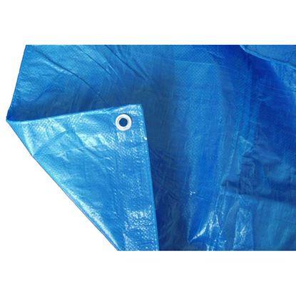 Immagine di Telo occhiellato, multiuso in polietilene, robusto e impermeabile, bordo rinforzato, colore blu, 90 gr/m², 6x8 mt
