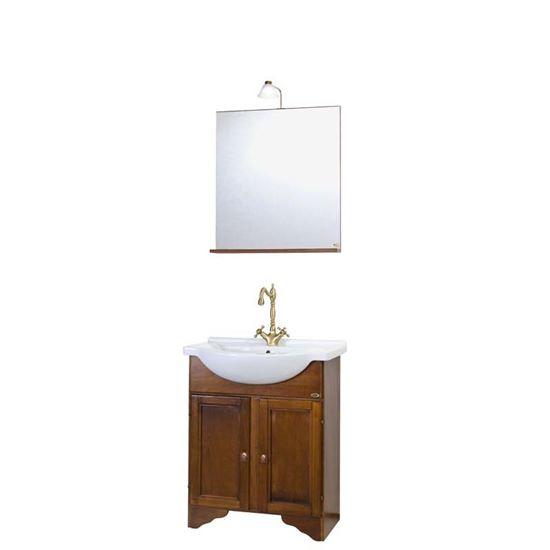 Immagine di Composizione Larisa 65,  65 cm, base 2 ante con lavabo e specchiera, con illuminazione