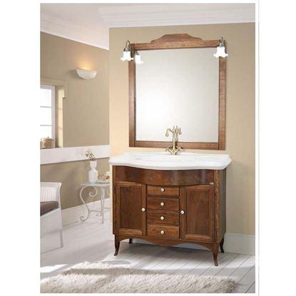 Immagine di Composizione base, 111 cm, base 2 ante, 3 cassetti con lavabo e specchiera doppia, con illuminazione