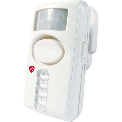 Immagine di Allarme di movimento, ad infrarossi, attivazione e disattivazione tramite tastiera, portata 6 mt, 2 funzioni suoneria