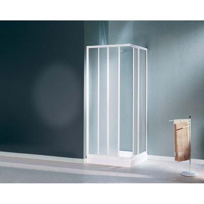 Immagine di Box doccia Mediterraneo, profilo bianco, acrilico, 80/90 cm