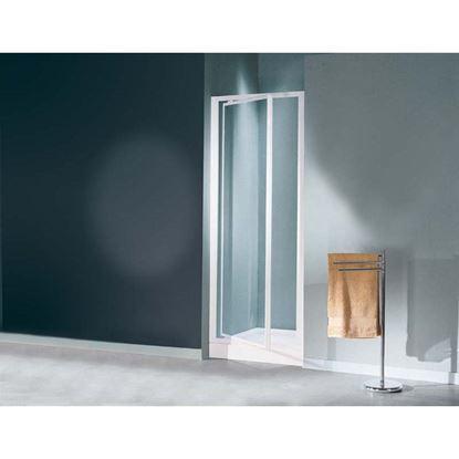 Immagine di Porta doccia Mediterraneo, battente, profilo bianco, acrilico, 65/69 cm