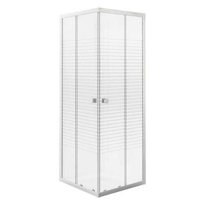 Immagine di Box doccia Gala, profilo alluminio bianco, cristallo temperato 4 mm, con serigrafia, 90x70xh185 cm