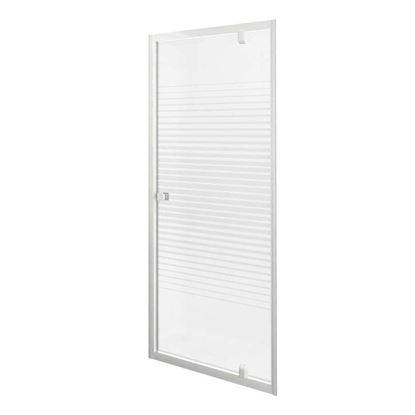 Immagine di Porta doccia Gala, battente, profilo alluminio bianco, cristallo temperato 4 mm, con serigrafia, 70xh185 cm