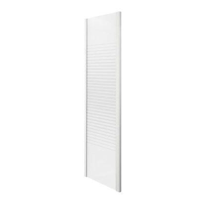 Immagine di Lato fisso Gala, profilo alluminio bianco, cristallo temperato 4 mm, con serigrafia, 80xh185 cm