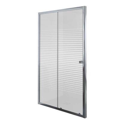 Immagine di Porta doccia Umbra, scorrevole, profilo alluminio cromato, cristallo temperato 5 mm, con serigrafia, 100xh190 cm