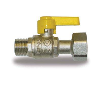 """Immagine di Rubinetto gas, IVR, dritto, con dado girevole, MF 1/2""""x3/4"""""""