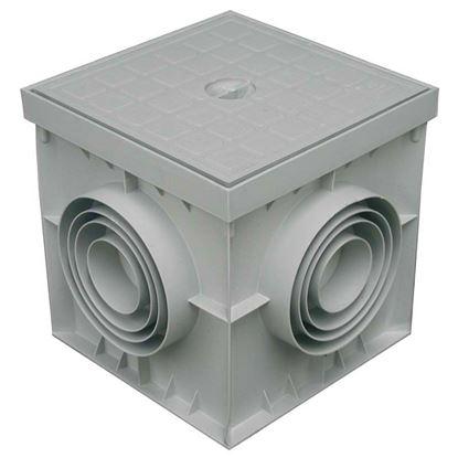 Immagine di Pozzetto e coperchio, colore grigio, 20x20 cm