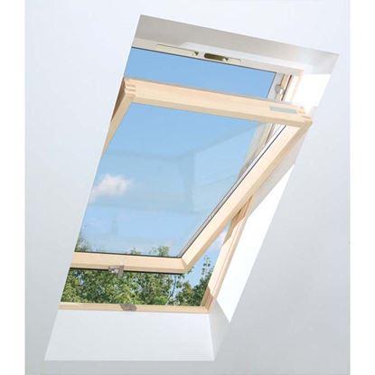 Immagine di Finestra da tetto termoventilata, in pino, apertura a bilico doppio vetro montaggio 15-90°, VB 66xh118 cm