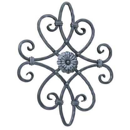 Immagine di Rosone in ferro spigolato, sezione 12x12 mm, altezza 530 mm, lunghezza 430 mm