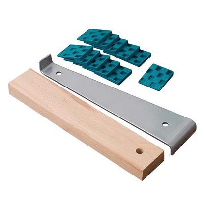Immagine di Barra di trazione, per posizionare le file di laminati e parquet, kit con mazza in legno e 20 cunei in plastica