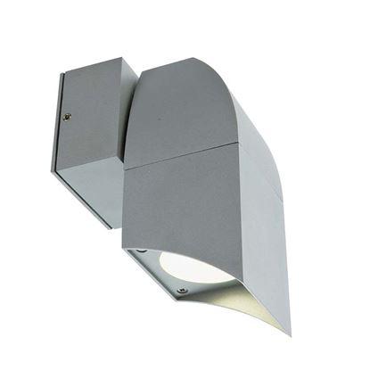 Immagine di Applique 1 luce Eur, struttura alluminio pressofuso, diffusore in vetro trasparente, IP43, GU10-50 W, colore alluminio