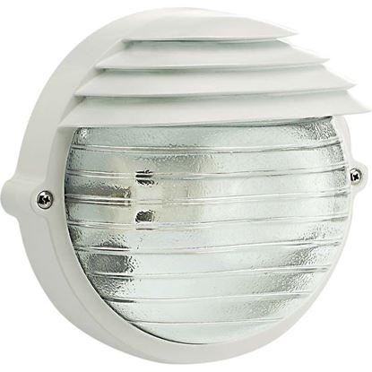 Immagine di Plafoniera tonda Palpebra, diffusore in vetro stampato, IP54, E27-60 W, Ø 18,4 cm, colore bianco