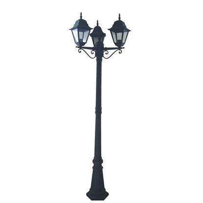 Immagine di Palo Sovil, Mini Quadrata, tre luci, diffusore vetro trasparente, E27-3x60 W, colore nero