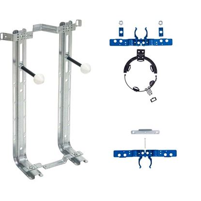 Immagine di Supporto sanitario sospeso, universale con accessori, collegamento vaso/bidet, 401 kg