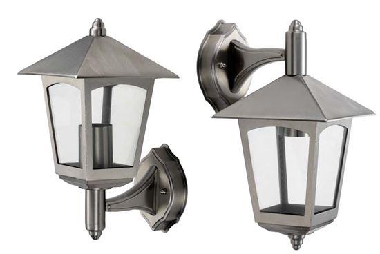 Applique atlantis lanterna a 4 facce versione in basso in acciaio