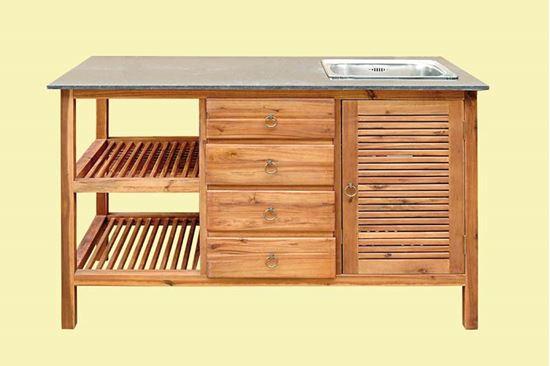 Top immagine di mobile lavello per esterno in acacia piano for Rubinetti cucina bricoman