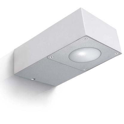 Immagine di Applique a led, Gaudino, corpo in alluminio, IP54, 89x150xh45 mm, 360 lumen, 5,5 W, 3000 K, colore grigio argento