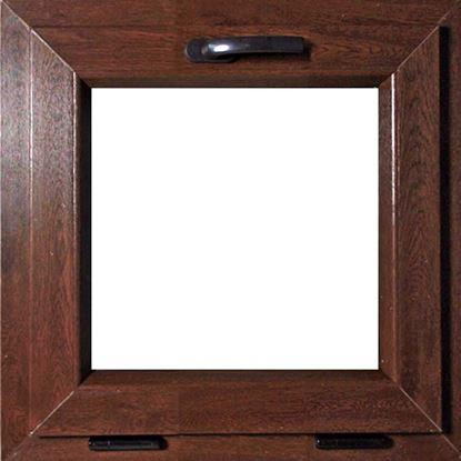 Immagine di Finestra Pvc, apertura vasistas, doppio vetro, 5 camere, colore noce scuro, 45xh45 cm