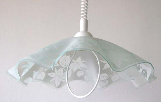 Saliscendi Ø 50 cm e27 60 w colore bianco in vetro decoro foglie