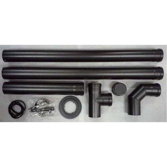 Immagine di Kit tubo fumi, per stufe a pellet, Ø 80 mm, composto da: tubi, raccordo e T, rosone e fascetta, colore nero