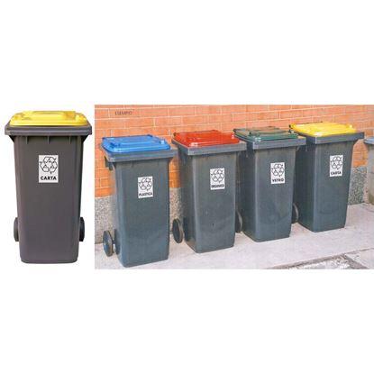 Immagine di Bidone raccolta differenziata, colore grigio/giallo, 240 lt