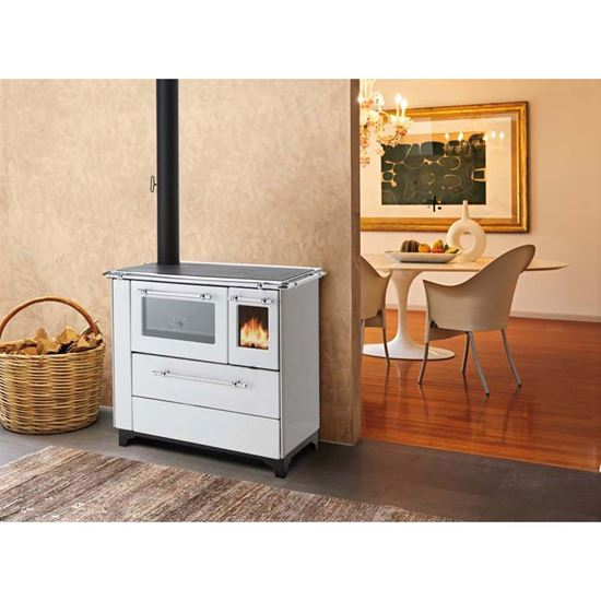Cucina a legna Royal Betty 4,5 New, 6,5 kW, resa 79%, Ø fumi 120 mm, colore  bianco, 90x60xh85 cm