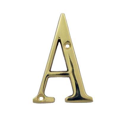 Immagine di Lettera civica, in ottone lucido, h 7,62 cm, A