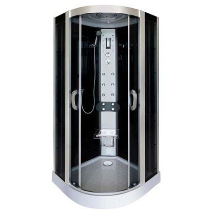 Immagine di Cabina Idro Serena 90x90x215 cm profili in alluminio grigio satinato vetri frontali temprati 5 mm fumè, porte scorrevoli