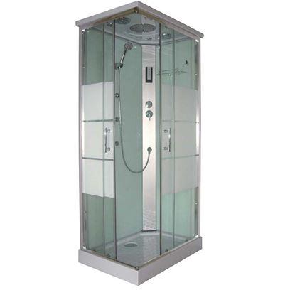 Immagine di Cabina Idro Vale 70x100x225 cm, profili in alluminio grigio satinato porte scorrevoli in vetro temprato 5 mm trasparente