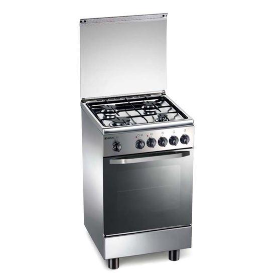Cucina free standing ,4 fuochi + forno statico gas inox con ...
