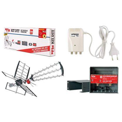 Immagine di Kit Antenna KITDDT1 FTE, composto da: antenna combinata LTE BIII e UHF, alimentatore 12V, amplificatore LTE