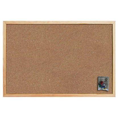 Immagine di Bacheca in sughero, con cornice in legno, sughero entrambi i lati, spessore 14 mm, accessori fissaggio inclusi, 45x60 cm