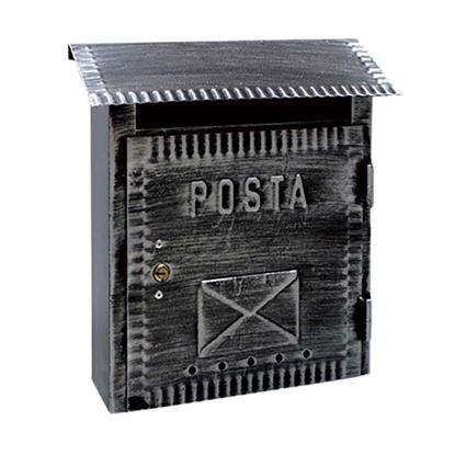 Immagine di Cassetta postale Rustica, in ferro battuto, 26x10x26 cm, colore nero brunito