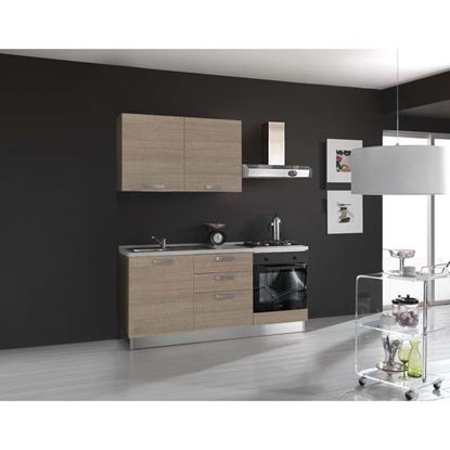 Immagine di Cucina Serena H204xL180 cm larice grigio no frigo top h 4 cm Eldo bis  Beko con forno statico larice grigio sx