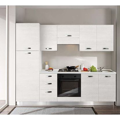 Immagine di Cucina Manuela H204xL255 cm cassa bianco e frontali white top h 4 cm  Eldo tris Beko  con forno statico white larix dx