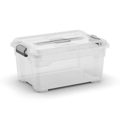 Immagine di Contenitore moover box xs, con coperchio e maniglia, trasparente, 38x26,5xh19 cm